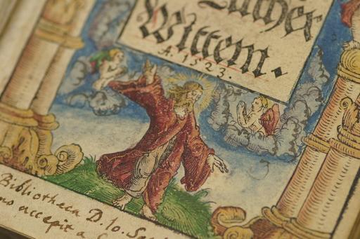 Ausschnitt des Einbande eines alten Buches.